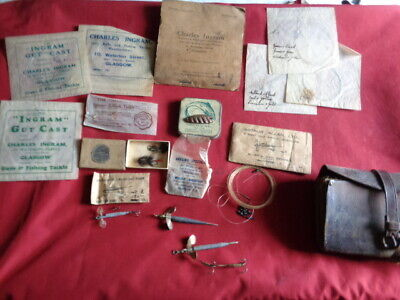 Vintage Fly Wallet , Fly Cast Packets, Bait Mounts Etc. • 9.99£