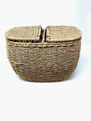 Wicker Fish Basket Fishing Creel Trout Perch Cage Tackle Box Home Decoration • 24.98£
