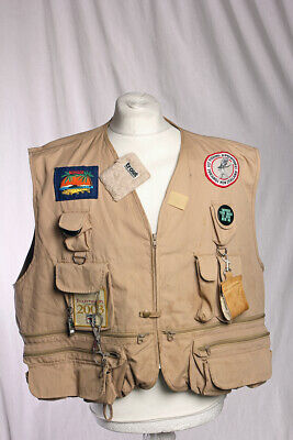 Canvasback Fly Fishing Vest With Accessories Multi Pocket XX-Large Beige! • 35£