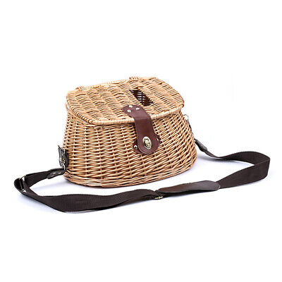 Willow Fish Basket Vintage Fishermans Traps W/ Strap Pouch Portable Bamboo • 34.02£