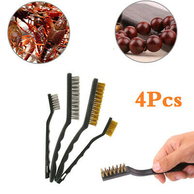 4* Wire Brushes Set Kits Paint Cleaner Long Handles Small 4Pcs 4pcs/set • 5.80£