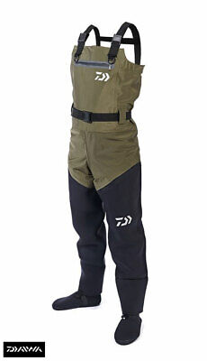 Clearance Daiwa Hybrid 4 Stretch Breathable / Neoprene 4S Chest Waders Size Uk7 • 99.99£