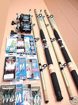 2 X Shakespeare  Fishing Boat Rod Kit + Reel All The Tackle Included • 97£