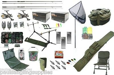Carp Fishing Set Kit Rods Reels Chair Alarms Bait Tackle Tools Mat Hook Luggage • 199.93£