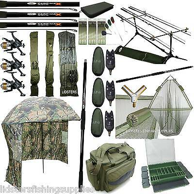 Full Carp Fishing Set Up Rods Reels Bag Alarms Holdall Brolly Tackle New 42  Net • 349.81£