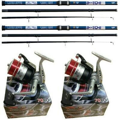 2 X 14FT Blue Beach Caster Sea Fishing Rod + 2 SILK 70 Lineaffe Reels • 69.95£