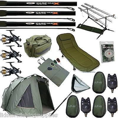Full Carp Fishing Set Up Three Rib Bivvy Tent Bed Chair 3 Rods Reels Bag Alarms • 499.95£