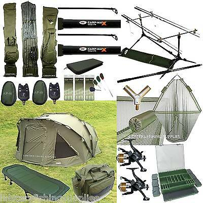 Full Carp Fishing Set Up 2 Man Bivvy 2 Rods Reels Bag Alarm Tackle Bed Chair Net • 549.95£