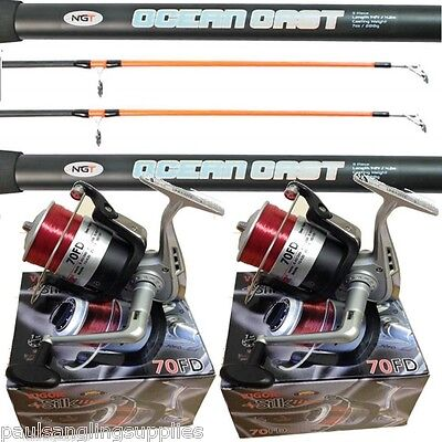 2 X 14 FT Beach Casting Sea Fishing Rods Reels  SK 70 Reels Blue Ocean Rods • 74.95£