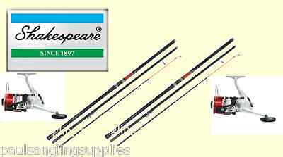 2 X Shakespeare Omni 13ft Beachcasting Fishing Rods & Linaeffe Silk Reels & Line • 102£