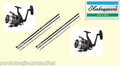 2 X Shakespeare Omni 13ft Beachcasting Fishing Rods & Omni 70  Reels & Line • 126.01£