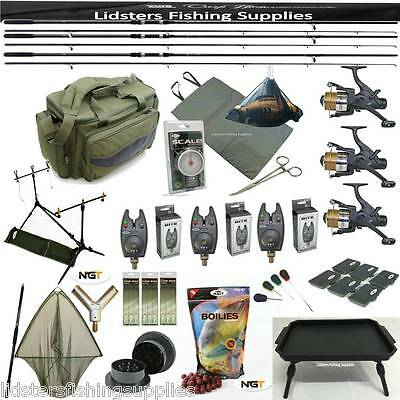 3 Rod Carp Fishing Set Up Reels Bag Bait Mat + Handle Scales Net Alarms Table • 290.26£