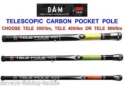 DAM TELE CARBON POCKET POLE COARSE FISHING TELESCOPIC TRAVEL RODS IN 3m 4m 5m • 54.95£