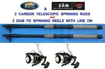 2 CARBON TELESCOPIC RODS+RD40 REELS 6,7,8,9,10,12 Ft SPINNING TRAVEL PIKE BASS • 34£