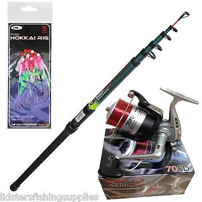 TELESCOPIC NGT FISHING BEACHCASTER ROD 12FT + REEL SEA BEACH + Mackerel Feathers • 29.95£
