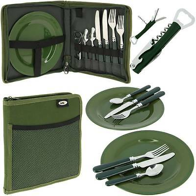 NGT 600 Deluxe Carp Fishing Camping Picnic Day Cutlery Set 2 Plates Forks Spoons • 14.95£