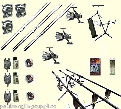 Carp Fishing Set 3 Shakespeare Rods 3  Reels 3 Alarms Rod Pod Bait Rigs Hooks  • 159.80£