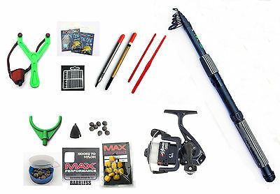 Oxygen  Carbon Holiday Coarse Fishing Tele Kit Rod,Reel,floats,shot,line,catty • 24.13£