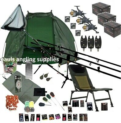 ASL  3 Rod Carp Fishing Set Up Kit Rods Reels Chair INCLUDING TACKLE PACK    • 295.98£