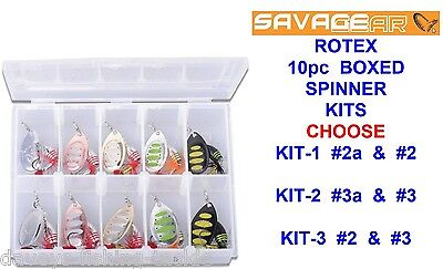 Savage Gear Rotex Spinner Box Kit Game Coarse Fishing Salmon Trout Pike Lures • 15.35£