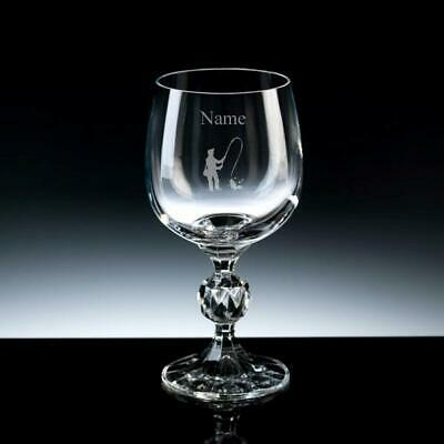 Personalised ANGLING FISHING Wine Glass FREE ENGRAVING Any Message 3 Sizes Gift • 17.99£