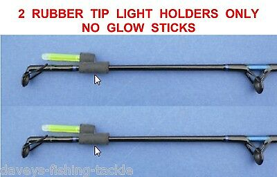 2 Rubber Rod Tip Light Holders For Night Glow Sticks Starlites Beachcaster Rods • 2.90£