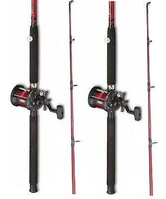 2 X  Fladen Red  Boat Fishing Rod + Multiplier Reel With Red  Line • 79.88£