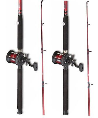 2 X  Fladen Red  Boat Fishing Rod + Multiplier Reel With Red  Line • 63.53£