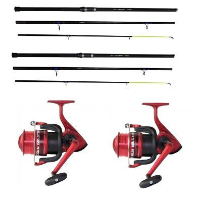 2 X 14 Ft Beach Casting Sea Fishing Rods Silk 7000 Large Reels Ocean Rods & Line • 66.64£