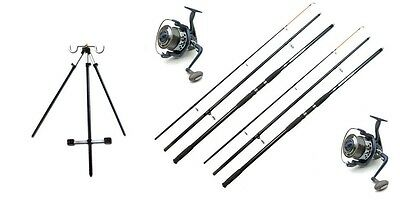 2 X Size 70 Reels & Line 2 14ft Rods Sea Fishing Beach Tripod Kit Set • 116.47£