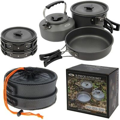 NGT 3 Piece Cook Set Carp Fishing Cooking Set Kettle Frying Pan Pot With Lid 3pc • 40.14£