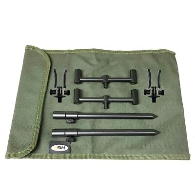 2 Rod Ali Short Buzz Bar Set Black With Bag + 2 Rests Carp Fishing Tackle • 27.93£