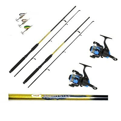 2 X 6FT Sportstar Spinning Fishing Rods And Star Reels Lures Trout,sea Fishing • 39.17£