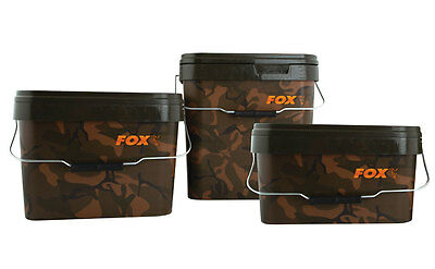 FOX NEW Carp Fishing Square Camo Bait Bucket 5L / 5 Litre X 2 - CBT005 • 14.99£