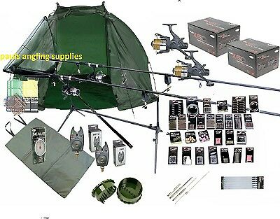 Full Carp Fishing Set Up Kit Rods Reels Rigs Alarms Bait Tackle Tools Mat Giant  • 148.54£