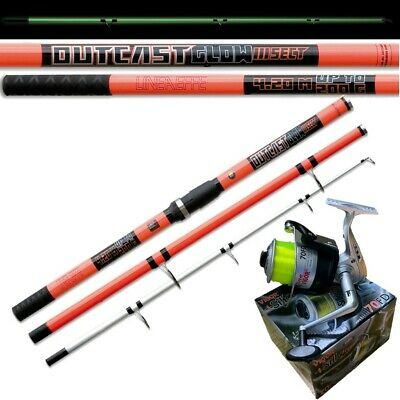 14ft 3pc Outcast Glow Beach Caster Rod And Silk 70 Beach Reel Combo Sea Fishing • 49.95£