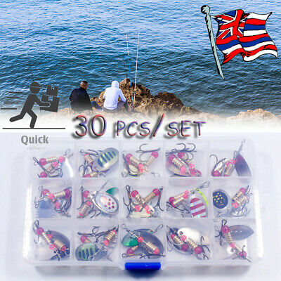 30x Metal Spinners Sea Fishing Lures Trout Pike Perch Salmon Bass Tackle Set • 11.95£