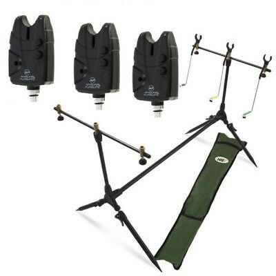 Carp Fishing Pod & Alarms With Swingers 3  Bite Alarms, 3 Rod Rests & Bag • 38.54£