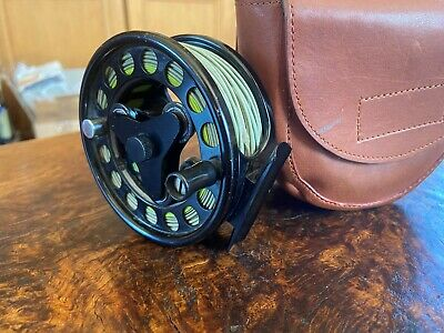 Loop Model 2 3 3/4 Inch Trout Fly Reel With Custom Leather Case & Fly Line • 165£