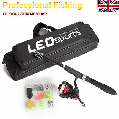 Complete Junior Beginner Telescopic Fishing Rod And Reel + Lure + Bag Kit Set • 15.99£