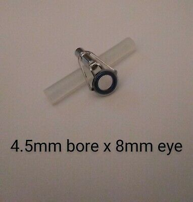 Beachcaster Fishing Rod Eye End Top Tip, Size 4.5mm Chrome With Hot Melt Glue • 4.29£