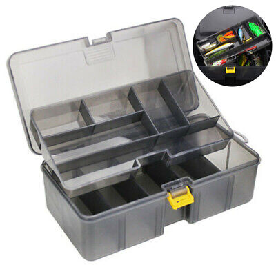 Waterproof Plastic Double Layers For Fishing Tackle Box Lures Bait Storage Case • 8.39£