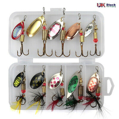Size 2 In Pocket 10 PCS Spinners Lure Box Ideal Perch Salmon Pike Trout Fishing • 6.46£