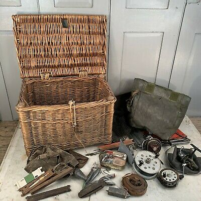 Antique Vintage Wicker Fishing Basket And Misc Contents • 60£