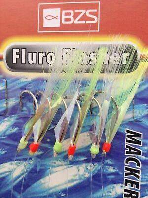 BZS Fluro Flasher Mackerel Feathers Pack Of 5 • 5.95£