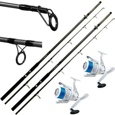 2 Lineaeffe Sea Hawk Fishing Rod 12ft + 2 Shizuka 7000 Sea Reels Surf Beach • 69.95£