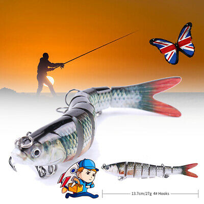 8 Multi Jointed Hard Savage Swim-Bait Fishing Pike Perch Gear Lure Plug Bait • 4.79£