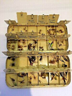 Antique Black Enamel Fly Fishing Compartmentalised Tin With Flies • 130£