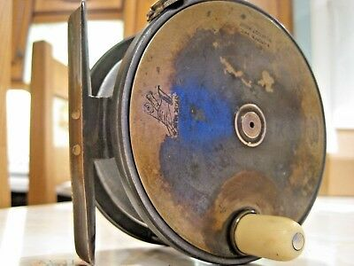 Rare Vintage Cira 1900 4 1/2 Inch Hardy Brass Faced Perfect Salmon Fly Reel • 999.99£