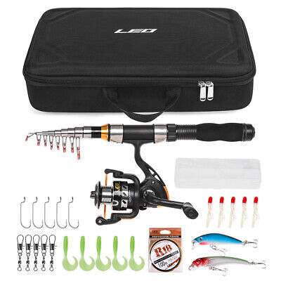 Telescopic Fishing Rod Reel Combo Full Kit Spinning Reel Pole Set W/Bag UK Y3Y0 • 21.19£